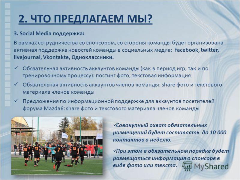 3. Social Media поддержка: В рамках сотрудничества со спонсором, со стороны команды будет организована активная поддержка новостей команды в социальных медиа: facebook, twitter, livejournal, Vkontakte, Одноклассники. Обязательная активность аккаунтов