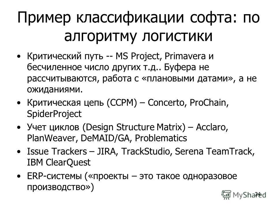 34 Пример классификации софта: по алгоритму логистики Критический путь -- MS Project, Primavera и бесчиленное число других т.д.. Буфера не рассчитываются, работа с «плановыми датами», а не ожиданиями. Критическая цепь (CCPM) – Concerto, ProChain, Spi
