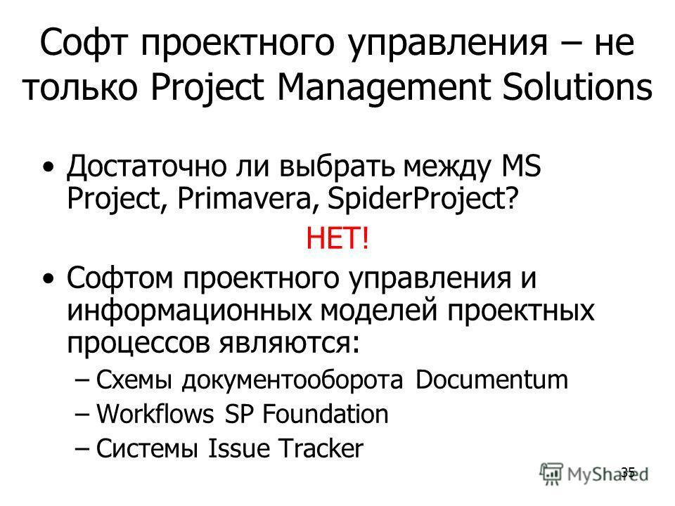 35 Софт проектного управления – не только Project Management Solutions Достаточно ли выбрать между MS Project, Primavera, SpiderProject? НЕТ! Софтом проектного управления и информационных моделей проектных процессов являются: –Схемы документооборота