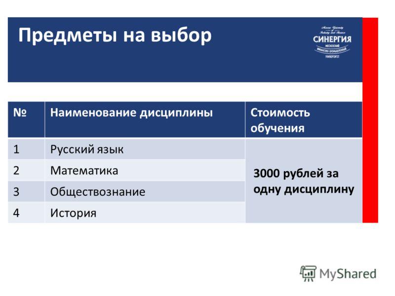 Наименование дисциплины Стоимость обучения 1Русский язык 3000 рублей за одну дисциплину 2Математика 3 Обществознание 4История Предметы на выбор