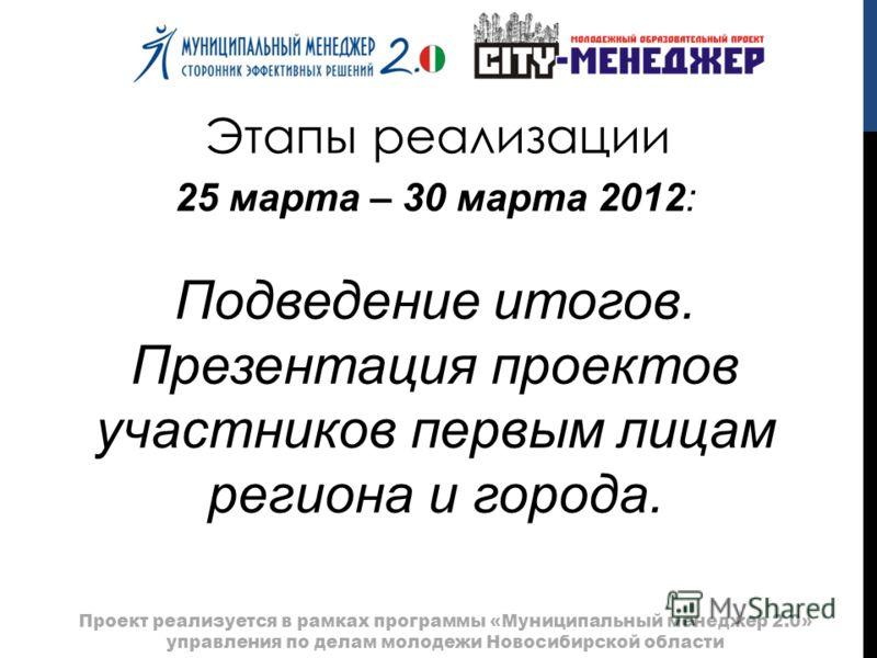 Этапы реализации Проект реализуется в рамках программы «Муниципальный менеджер 2.0» управления по делам молодежи Новосибирской области 25 марта – 30 марта 2012: Подведение итогов. Презентация проектов участников первым лицам региона и города.