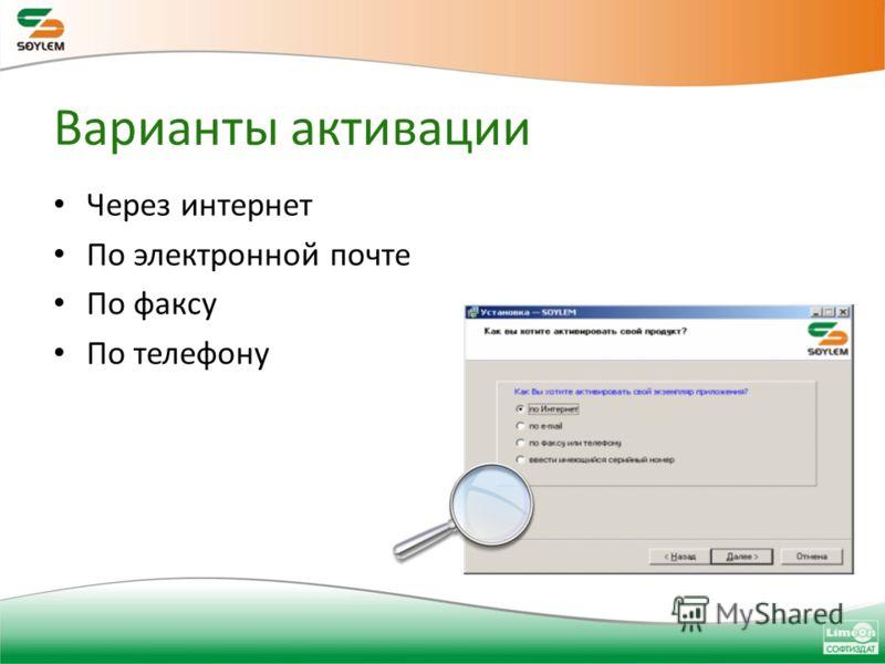 Варианты активации Через интернет По электронной почте По факсу По телефону