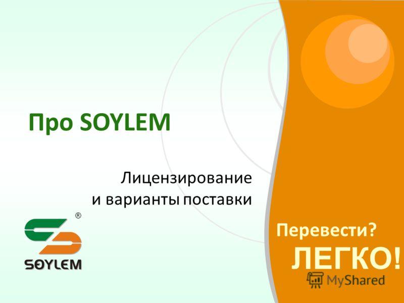 Перевести? ЛЕГКО! ® Про SOYLEM Лицензирование и варианты поставки