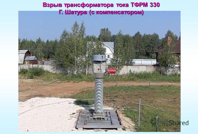 Взрыв трансформатора тока ТФРМ 330 Г. Шатура (с компенсатором)