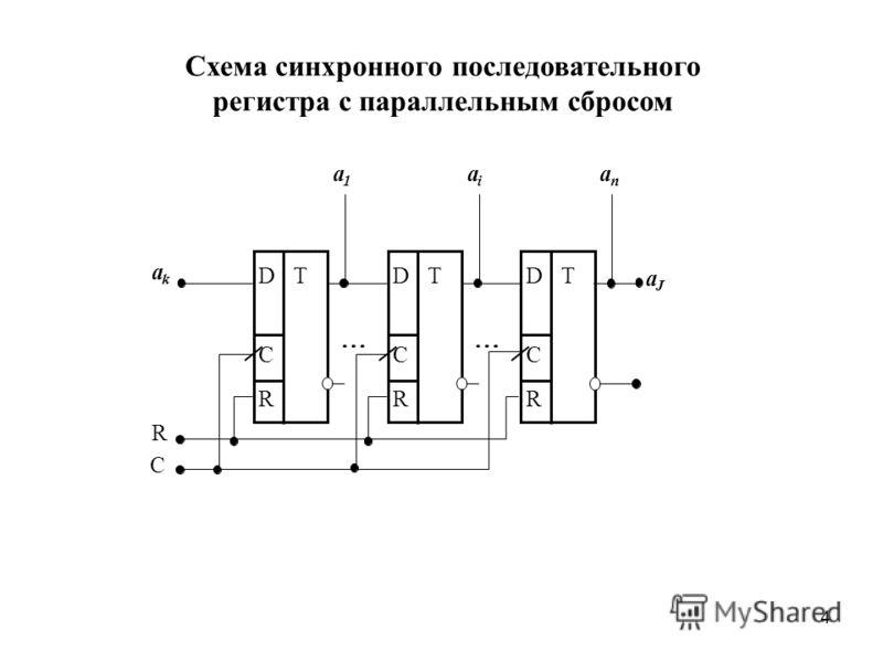 4 Схема синхронного последовательного регистра с параллельным сбросом