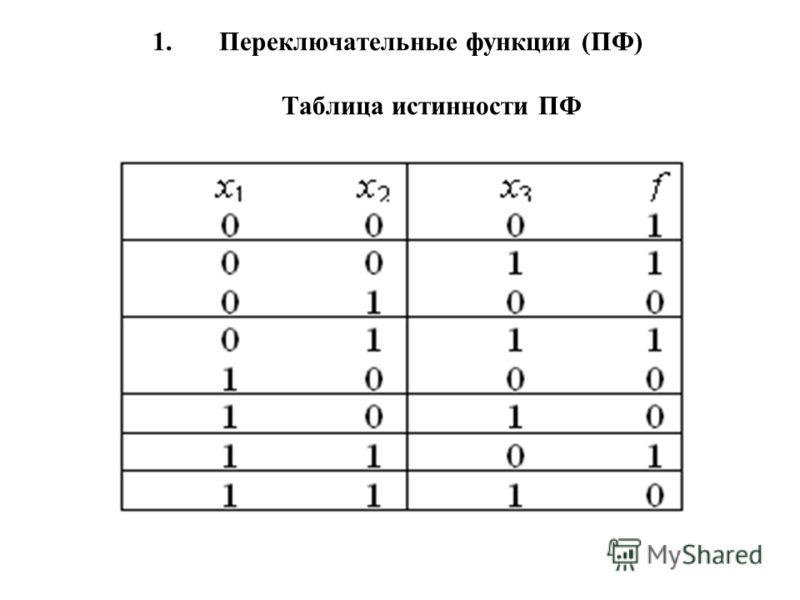 3 1. Переключательные функции (ПФ) Таблица истинности ПФ