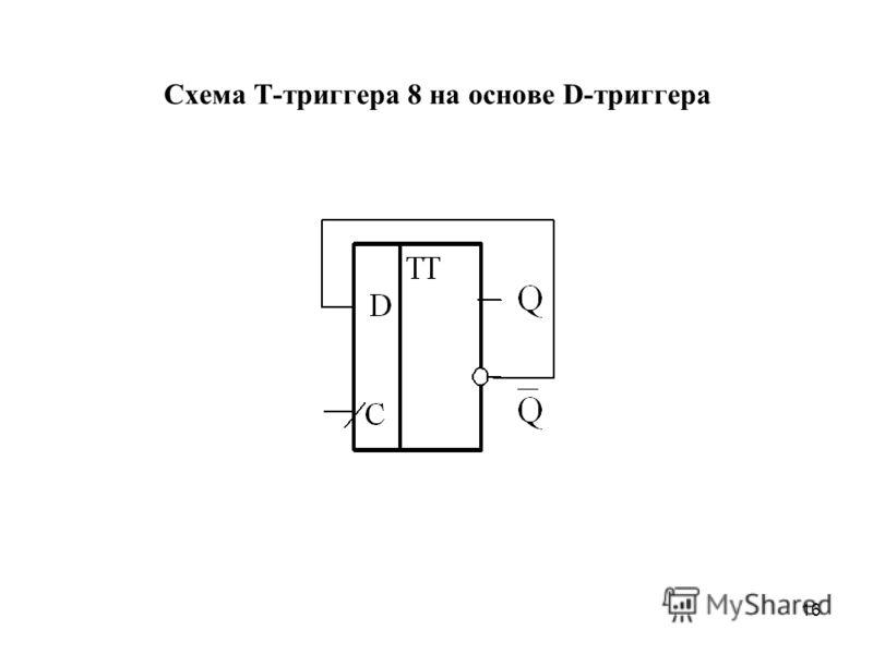 16 Схема Т-триггера 8 на основе D-триггера