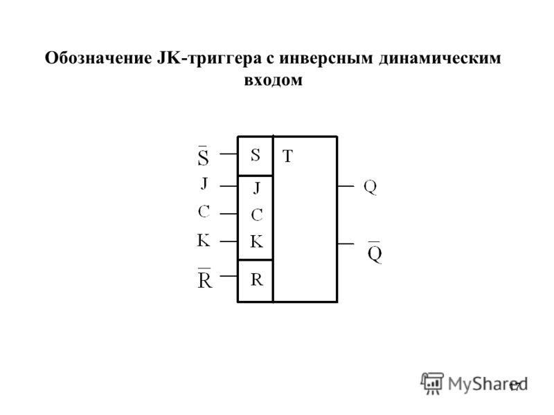 17 Обозначение JK-триггера с инверсным динамическим входом