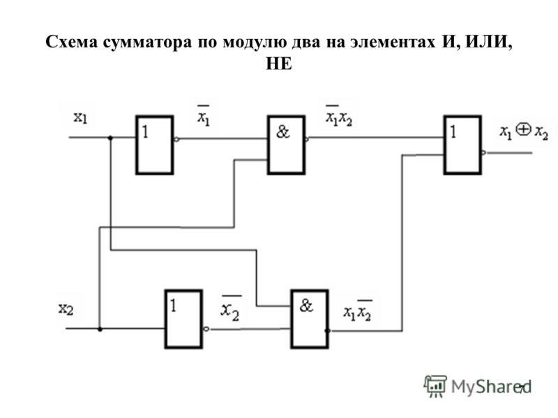 7 Схема сумматора по модулю два на элементах И, ИЛИ, НЕ