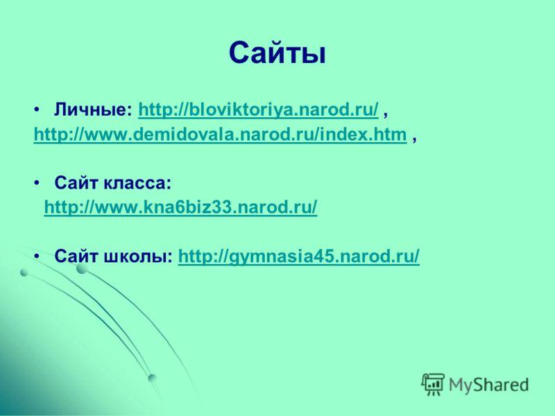 Сайты Личные: http://bloviktoriya.narod.ru/,http://bloviktoriya.narod.ru/ http://www.demidovala.narod.ru/index.htmhttp://www.demidovala.narod.ru/index.htm, Сайт класса: http://www.kna6biz33.narod.ru/ Сайт школы: http://gymnasia45.narod.ru/http://gymn