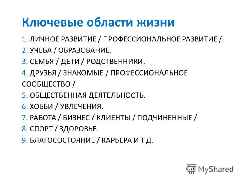 1. ЛИЧНОЕ РАЗВИТИЕ / ПРОФЕССИОНАЛЬНОЕ РАЗВИТИЕ / 2. УЧЕБА / ОБРАЗОВАНИЕ. 3. СЕМЬЯ / ДЕТИ / РОДСТВЕННИКИ. 4. ДРУЗЬЯ / ЗНАКОМЫЕ / ПРОФЕССИОНАЛЬНОЕ СООБЩЕСТВО / 5. ОБЩЕСТВЕННАЯ ДЕЯТЕЛЬНОСТЬ. 6. ХОББИ / УВЛЕЧЕНИЯ. 7. РАБОТА / БИЗНЕС / КЛИЕНТЫ / ПОДЧИНЕНН