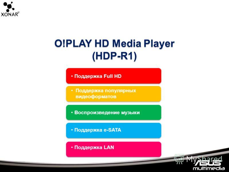 O!PLAY HD Media Player (HDP-R1) Поддержка Full HD Поддержка популярных видеоформатов Воспроизведение музыки Поддержка e-SATA Поддержка LAN