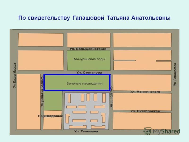 По свидетельству Галашовой Татьяна Анатольевны