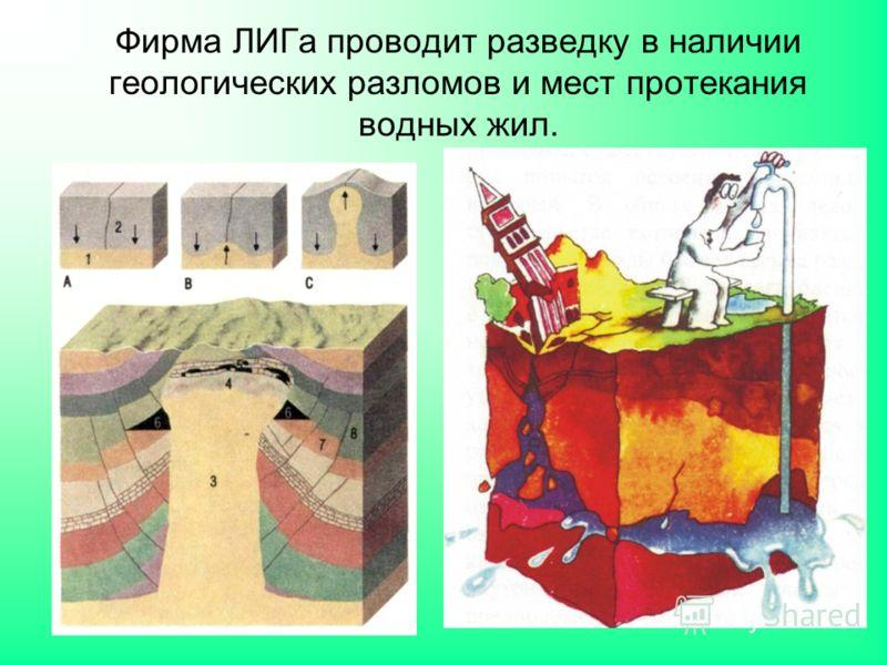 Фирма ЛИГа проводит разведку в наличии геологических разломов и мест протекания водных жил.