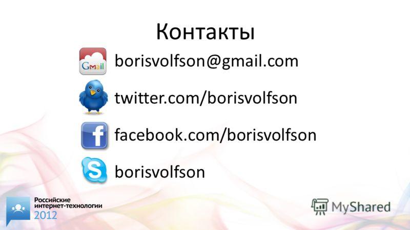 Контакты borisvolfson@gmail.com twitter.com/borisvolfson facebook.com/borisvolfson borisvolfson