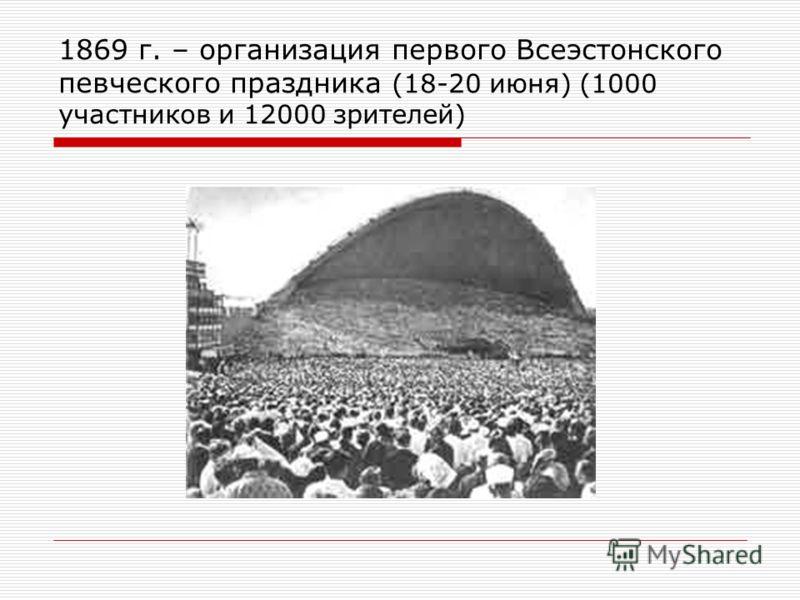 1869 г. – организация первого Всеэстонского певческойго праздника (18-20 июня) (1000 участников и 12000 зрителей)