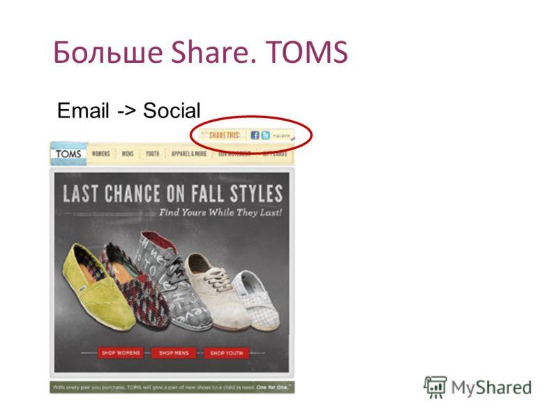 Больше Share. TOMS Email -> Social