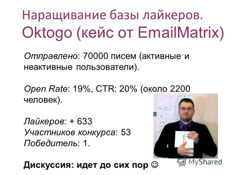 Наращивание базы байкеров. Oktogo (кейс от EmailMatrix) Отправлено: 70000 писем (активные и неактивные пользователи). Open Rate: 19%, CTR: 20% (около 2200 человек). Лайкеров: + 633 Участников конкурса: 53 Победитель: 1. Дискуссия: идет до сих пор
