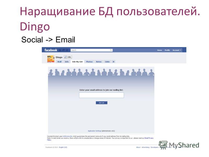 Наращивание БД пользователей. Dingo Social -> Email