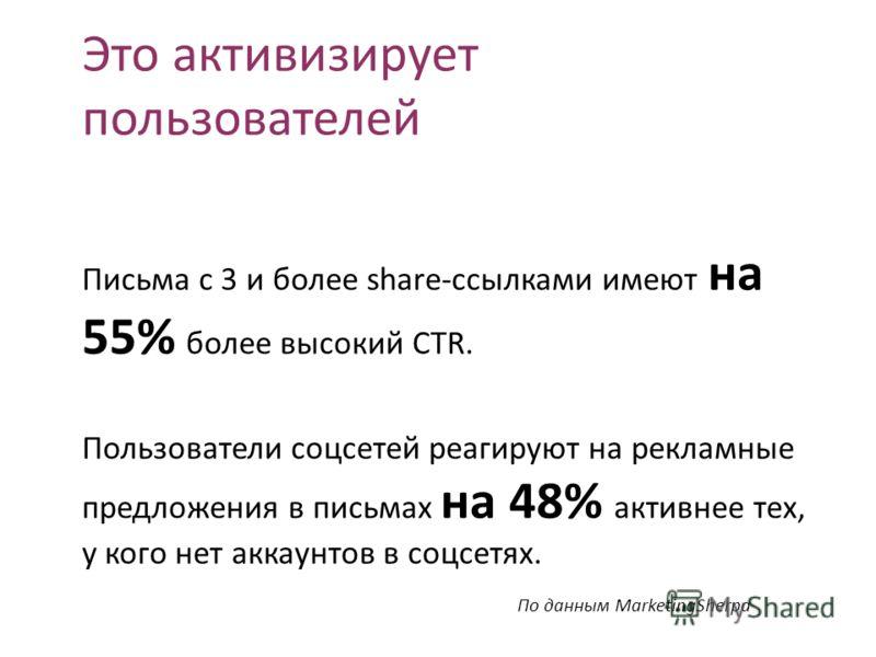 Это активизирует пользователей Письма с 3 и более share-ссылками имеют на 55% более высокий CTR. Пользователи соцсетей реагируют на рекламные предложения в письмах на 48% активнее тех, у кого нет аккаунтов в соцсетях. По данным MarketingSherpa