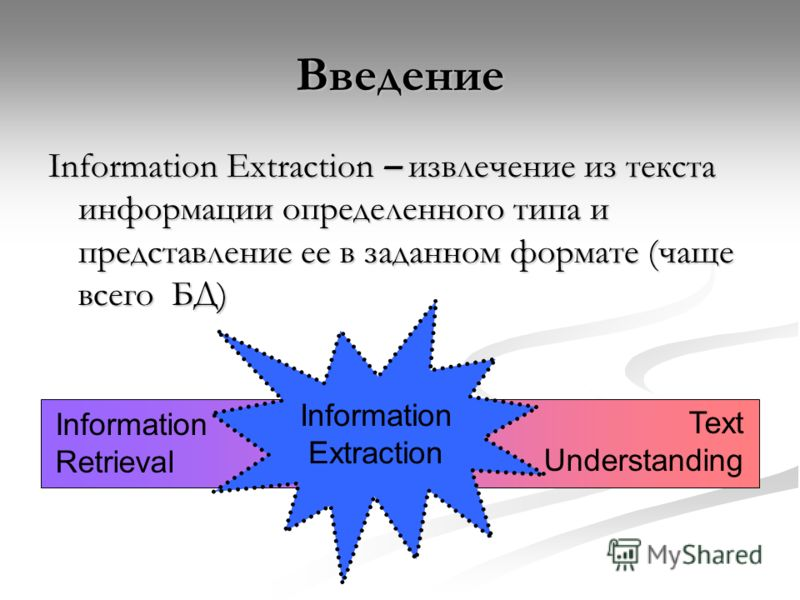Введение Information Extraction – извлечение из текста информации определенного типа и представление ее в заданном формате (чаще всего БД) Information Retrieval Text Understanding Information Extraction