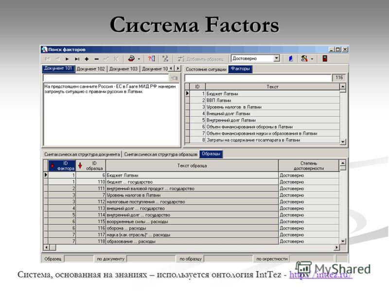 Система Factors Система, основанная на знаниях – используется онтология IntTez - http://inttez.ru/ http://inttez.ru/