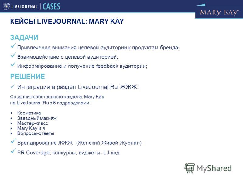 ЗАДАЧИ Привлечение внимания целевой аудитории к продуктам бренда; Взаимодействие с целевой аудиторией; Информирование и получение feedback аудитории; РЕШЕНИЕ Интеграция в раздел LiveJournal.Ru ЖЖЖ: Создание собственного раздела Mary Kay на LiveJourna