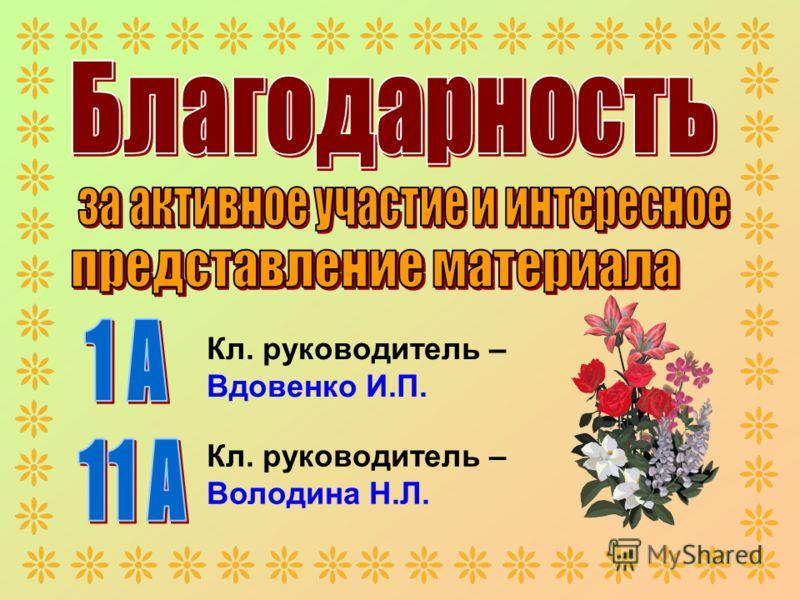 Кл. руководитель – Вдовенко И.П. Кл. руководитель – Володина Н.Л.