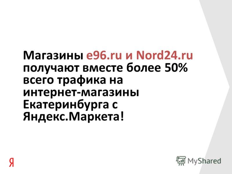 Магазины e96.ru и Nord24.ru получают вместе более 50% всего трафика на интернет-магазины Екатеринбурга с Яндекс.Маркета!