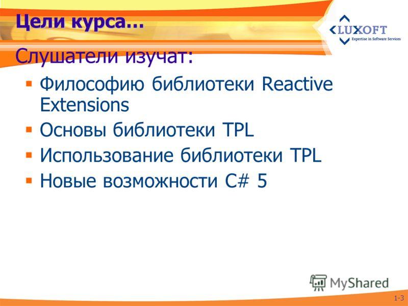 Цели курса… Философию библиотеки Reactive Extensions Основы библиотеки TPL Использование библиотеки TPL Новые возможности C# 5 Слушатели изучат: 1-3
