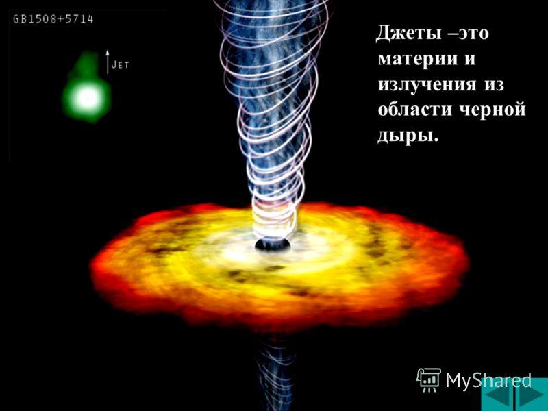 Джеты –это материи и излучения из области черной дыры. Джеты –это материи и излучения из области черной дыры.