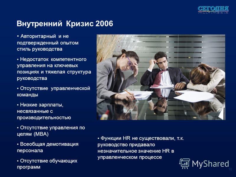 Функции HR не существовали, т.к. руководство придавало незначительное значение HR в управленческом процессе Внутренний Кризис 2006 Авторитарный и не подтвержденный опытом стиль руководства Недостаток компетентного управления на ключевых позициях и тя