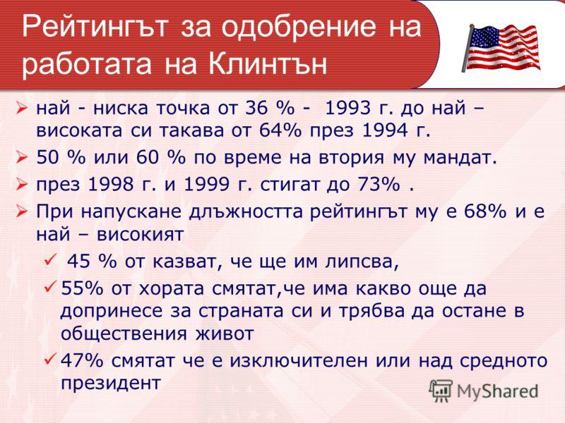 Рейтингът за одобрение на работата на Клинтън най - ниска точка от 36 % - 1993 г. до най – високата си такава от 64% през 1994 г. 50 % или 60 % по време на втория му мандат. през 1998 г. и 1999 г. стигат до 73%. При напускане длъжността рейтингът му