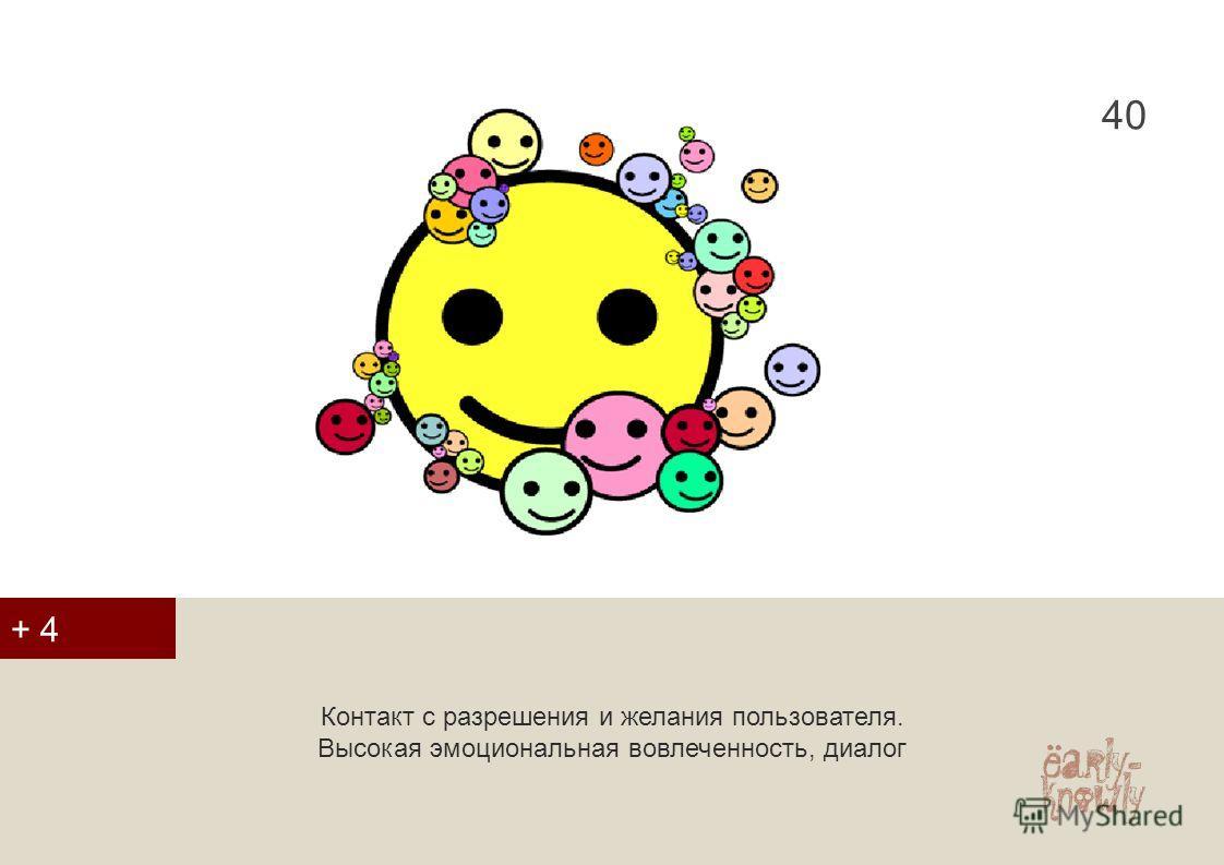 40 Контакт с разрешения и желания пользователя. Высокая эмоциональная вовлеченность, диалог + 4