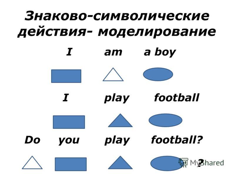 Знаково-символические действия- моделирование I am a boy I play football Do you play football? ?