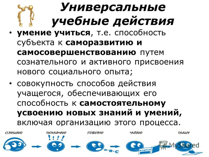 Универсальные <a href='http://www.myshared.ru/theme/prezentatsii-uchebnyie/' title='учебные'>учебные</a> действия умение учиться, т.е. способность суб