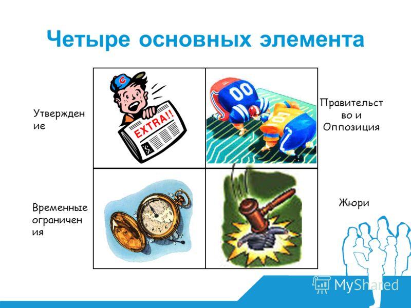 Утвержден ие Временные ограничен ия Правительст во и Оппозиция Жюри Четыре основных элемента