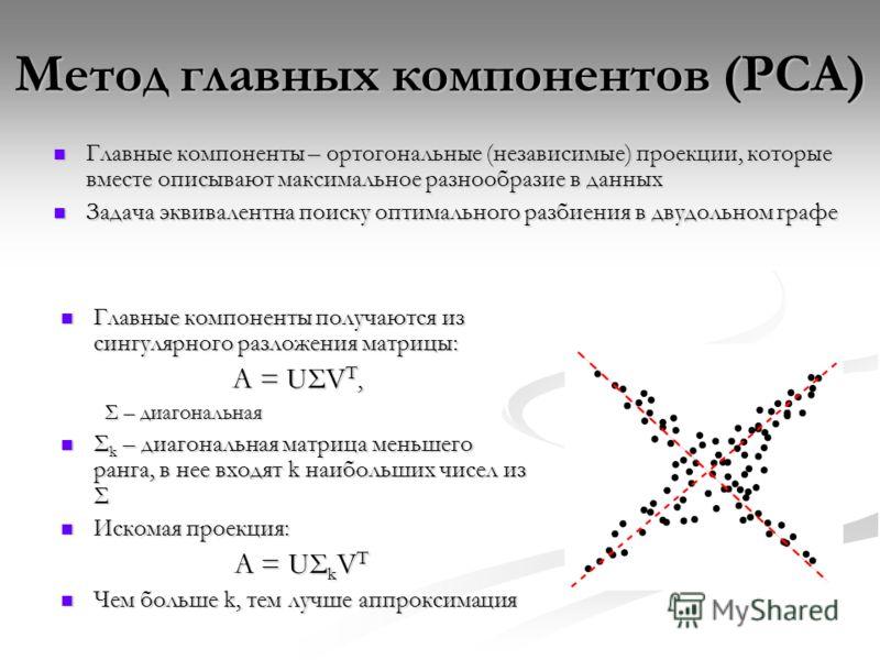 Метод главных компонентов (PCA) Главные компоненты – ортогональные (независимые) проекции, которые вместе описывают максимальное разнообразие в данных Главные компоненты – ортогональные (независимые) проекции, которые вместе описывают максимальное ра