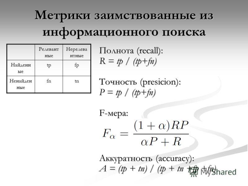 Метрики заимствованные из информационного поиска Полнота (recall): R = tp / (tp+fn) Точность (presicion): P = tp / (tp+fn) F-мера: Аккуратность (accuracy): A = (tp + tn) / (tp + tn +fp +fn) Релевант ные Нерелева нтные Найденн ые tpfp Ненайден ные fnt