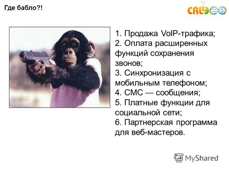 Где бабло?! 1. Продажа VoIP-трафика; 2. Оплата расширенных функций сохранения звонов; 3. Синхронизация с мобильным телефоном; 4. СМС сообщения; 5. Платные функции для социальной сети; 6. Партнерская программа для веб-мастеров.