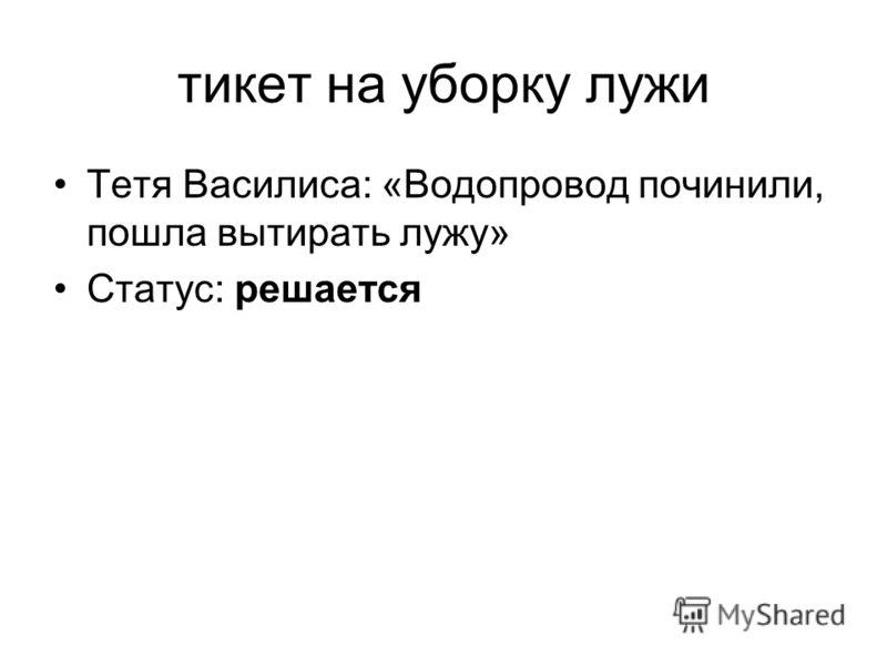 тикет на уборку лужи Тетя Василиса: «Водопровод починили, пошла вытирать лужу» Статус: решается