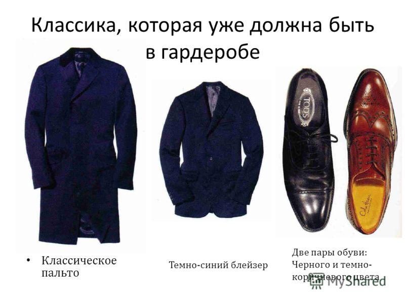 Классика, которая уже должна быть в гардеробе Классическое пальто Темно - синий блейзер Две пары обуви : Черного и темно - коричневого цвета