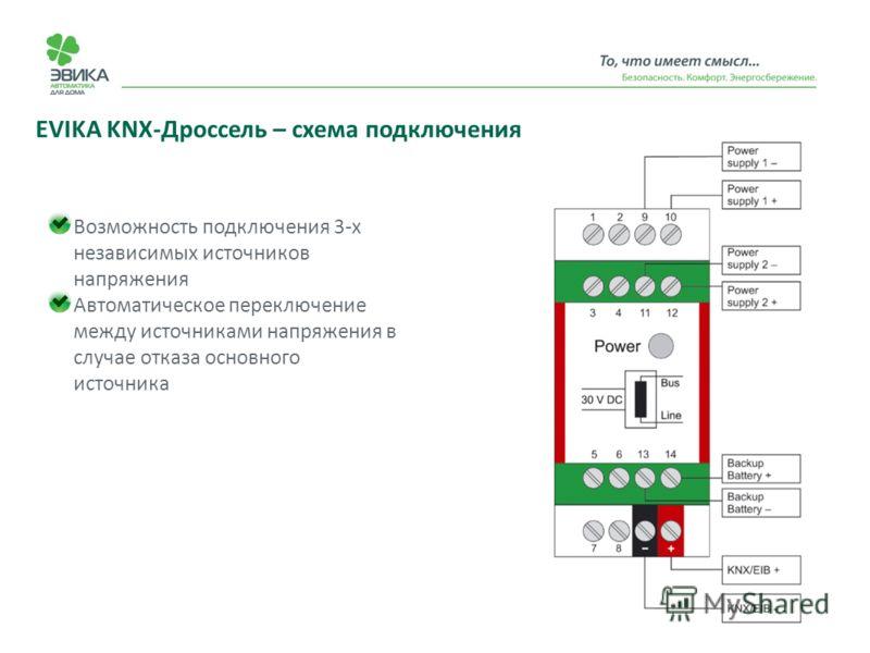 EVIKA KNX-Дроссель – схема подключения Возможность подключения 3-х независимых источников напряжения Автоматическое переключение между источниками напряжения в случае отказа основного источника