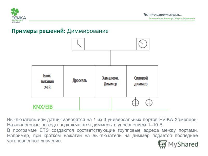 Примеры решений: Диммирование Выключатель или датчик заводятся на 1 из 3 универсальных портов EVIKA-Хамелеон. На аналоговые выходы подключаются диммеры с управлением 1–10 В. В программе ETS создаются соответствующие групповые адреса между портами. На