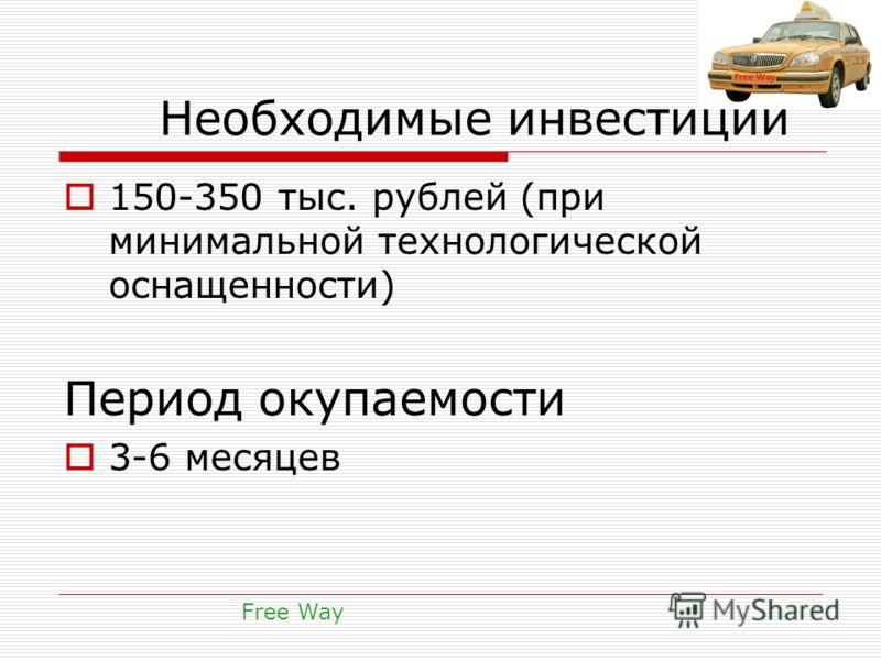 Необходимые инвестиции 150-350 тыс. рублей (при минимальной технологической оснащенности) Период окупаемости 3-6 месяцев Free Way