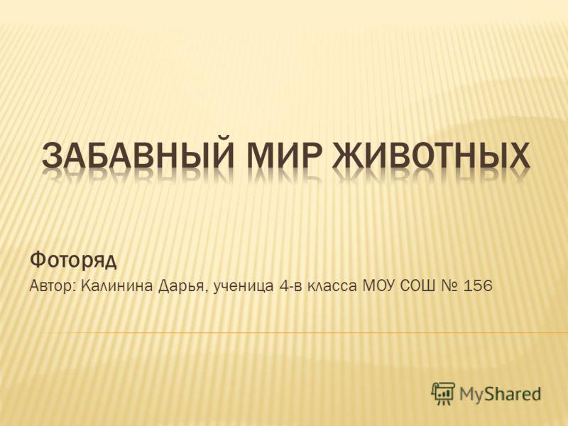 Фоторяд Автор: Калинина Дарья, ученица 4-в класса МОУ СОШ 156