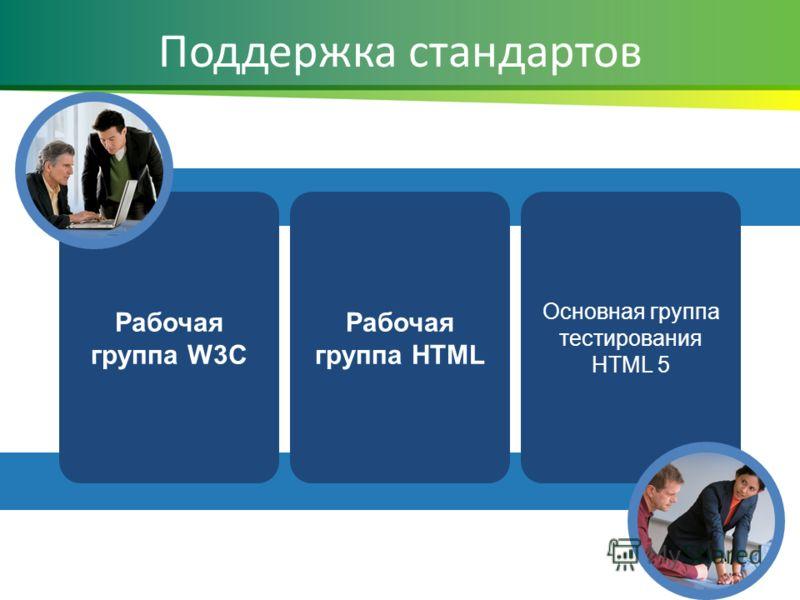 Поддержка стандартов Рабочая группа HTML Рабочая группа W3C Основная группа тестирования HTML 5