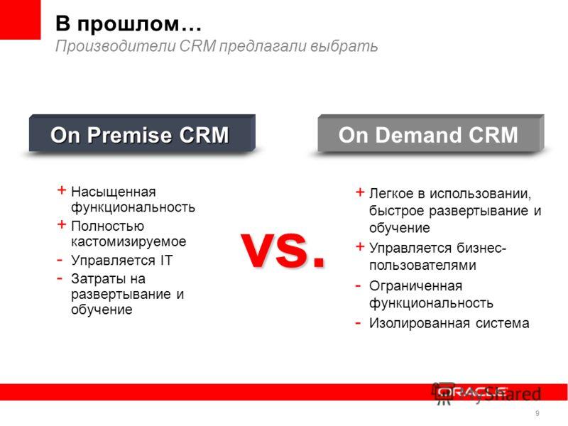 9 В прошлом… Производители CRM предлагали выбрать + Насыщенная функциональность + Полностью кастомизируемое - Управляется IT - Затраты на развертывание и обучение On Premise CRM + Легкое в использовании, быстрое развертывание и обучение + Управляется
