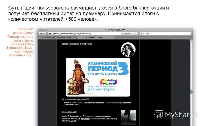 Типичное размещение баннера акции у себя в блоге (пользователь shamakhanskaya, количество читателей 782). Суть акции: пользователь размещает у себя в блоге баннер акции и получает бесплатный билет на премьеру. Принимаются блоги с количеством читателе