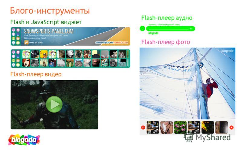 Flash и JavaScript виджет Flash-плеер видео Flash-плеер аудио Flash-плеер фото Блого-инструменты